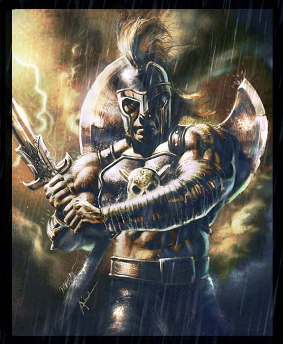 A modern representation of Ares.