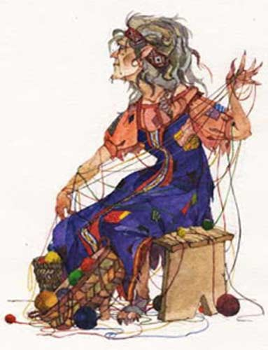 A representation of Kikimora covered in yarn.