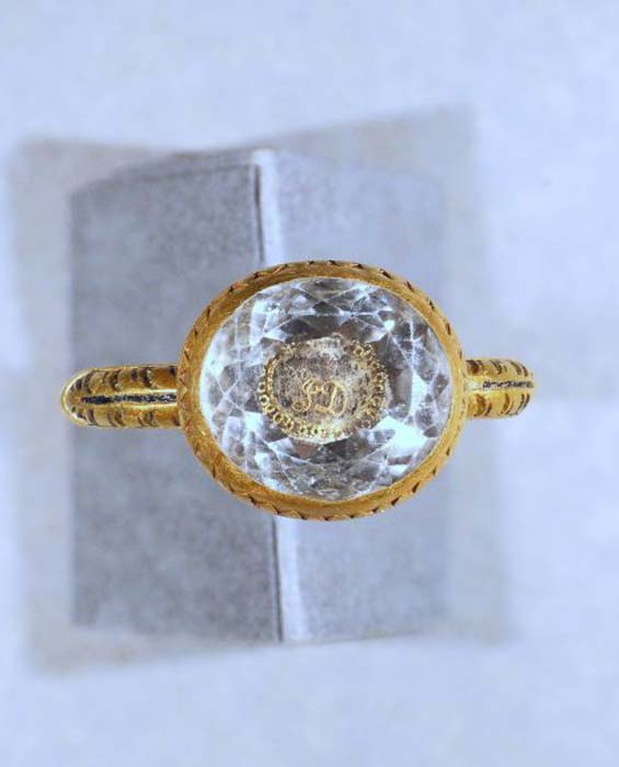 A closeup of the Civil War era crystal and gold mourning ring discovered by metal detectorist Lee Morgan. (Manx National Heritage)