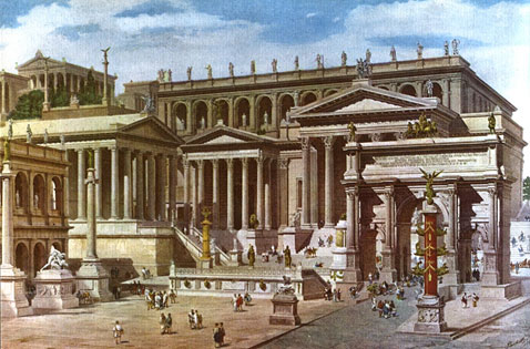 An artistic representation of the Roman forum