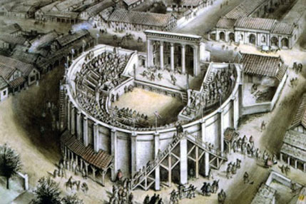 An artistic representation of a Roman theatre