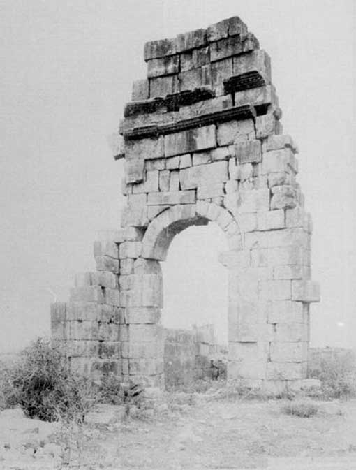 Top: The ruins of the triumphal arch, photographed in 1887 by Henri Poisson de La Martinière.