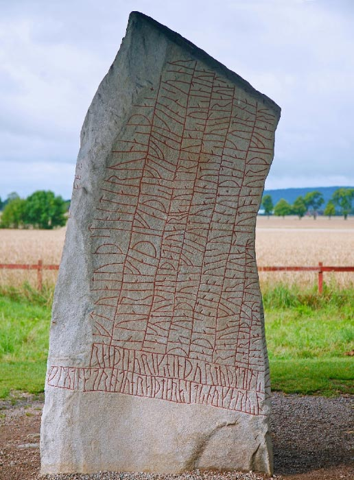 Full shot of the Viking runestone ('the Rök Stone') that is now believed to show the Viking's fears of climate change.