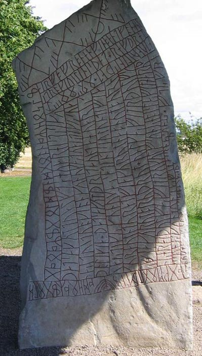 The Rök Runestone (Ög 136), located in Rök, Sweden features a Younger Futhark runic inscription that makes various references to Norse mythology.