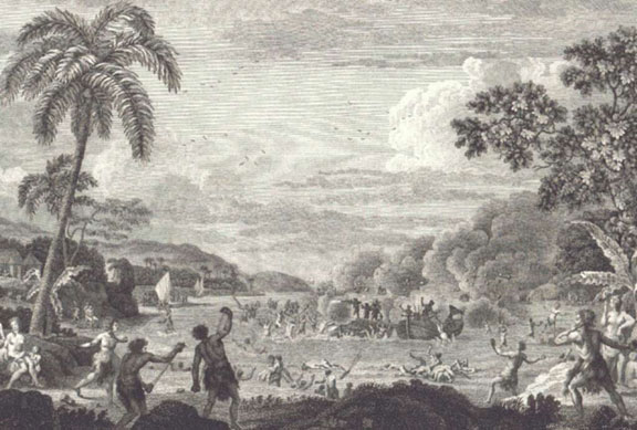Sailors arriving on Samoa