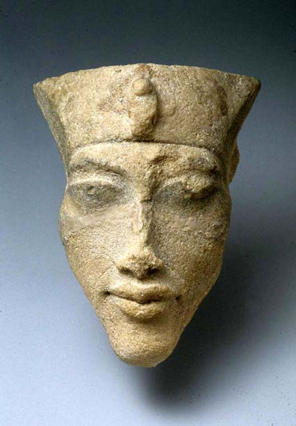 A sandstone head of King Akhenaten found in Tell el-Amarna at the Sculptors' workshops during the Petrie/Carter excavations, 1891–92