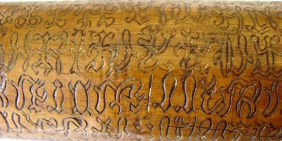 A mid-section of the Santiago Staff with Rongorongo script