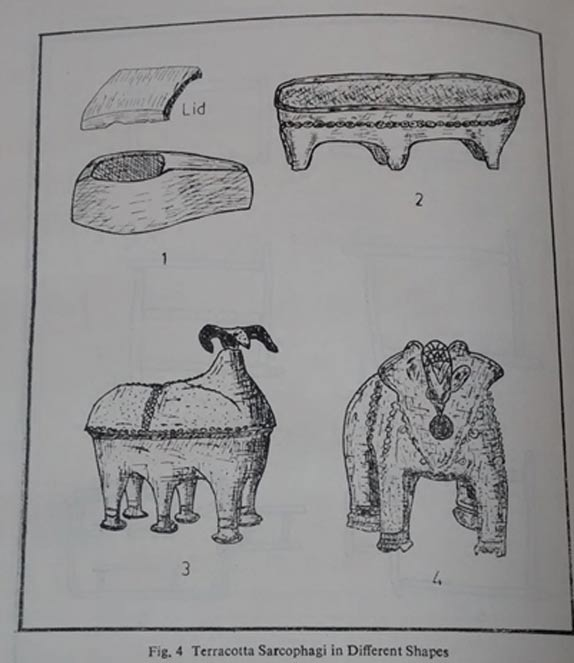 Image of sarcophagi and anthropoid figures from K.P. Rao Deccan megaliths, Delhi, 1988