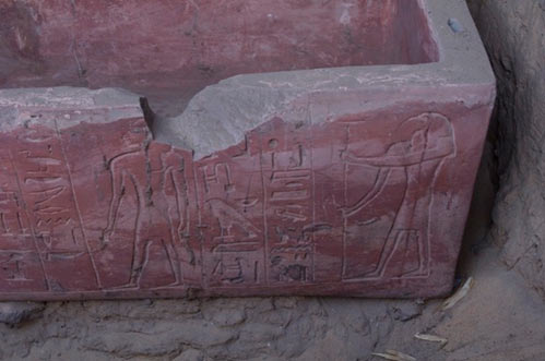 The sarcophagus was painted red and contained hieroglyphics