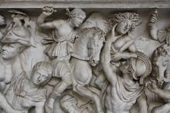 A detail from a 3rd century CE Roman sarcophagus showing the amazon Penthesilea and the Greek hero Achilles in a scene from the Trojan War.