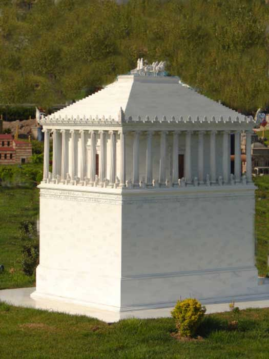 A scale model of a reconstruction of the Mausoleum - one of the versions at Miniatürk, Istanbul.