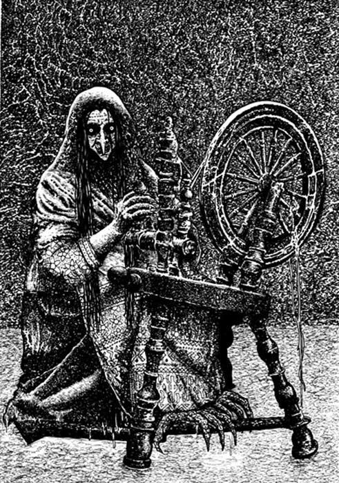 Illustration of a scary Kikimora.