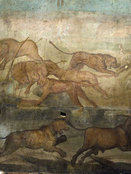 In the wild scene, here a leopard pounces on sheep, dogs chase boars, and a lion pursues a bull. (Pompeii Sites)