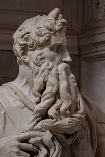 Photo of Michelangelo's sculpture of Moses showing the jugular vein in his neck. Source: Jörg Bittner Unna / CC BY 3.0