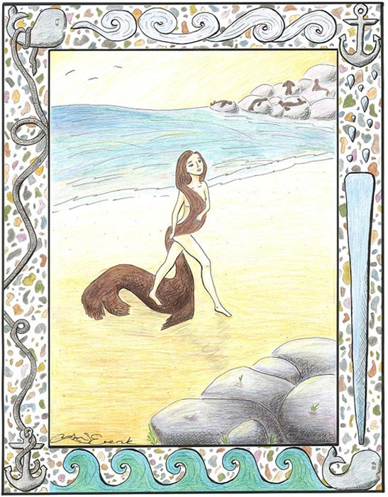 A seal-woman steps out from her seal coat on the beach.