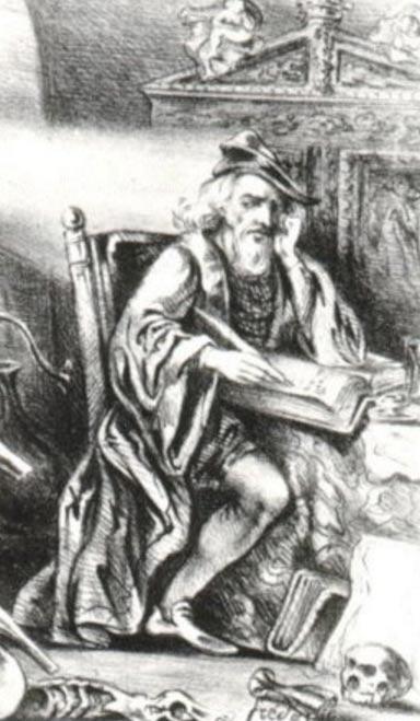 Nicolas Flammel in his secret laboratory