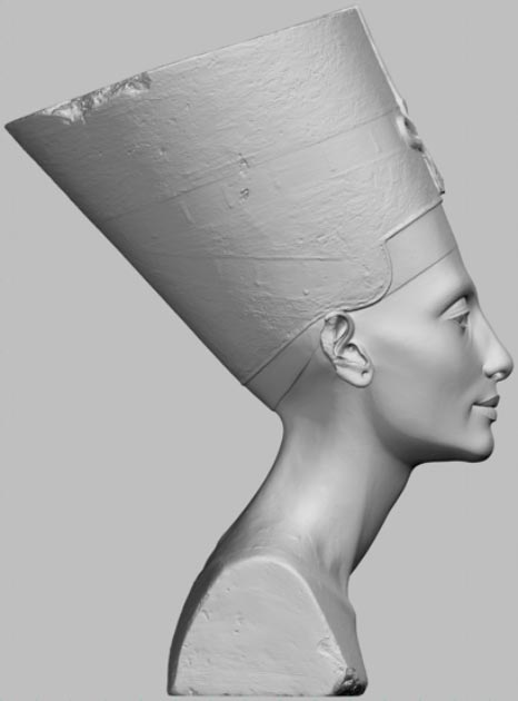 The secretly made 3D scans of Nefertiti's bust were used to make a 3D model. (Nora Al-Badri and Jan Nikolai Nelles)