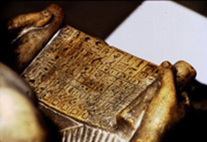 Sekhemka holds a papyrus listing his offerings