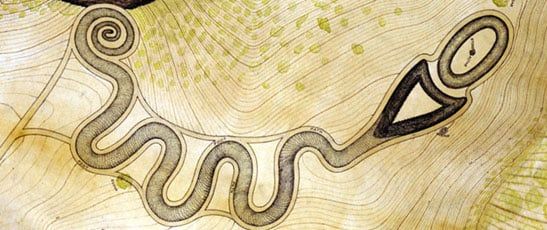 An illustration of the Serpent Mound