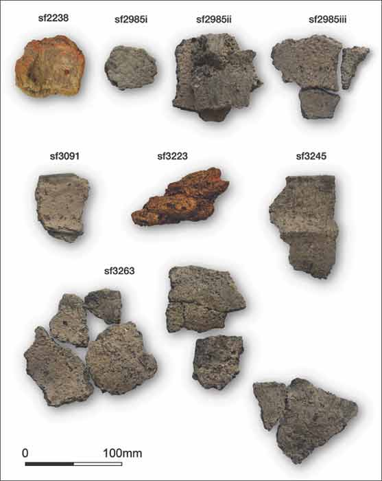 Image showing some of the sherds found at the ancient saltern in North Yorkshire. (S.J. Sherlock / Antiquity)