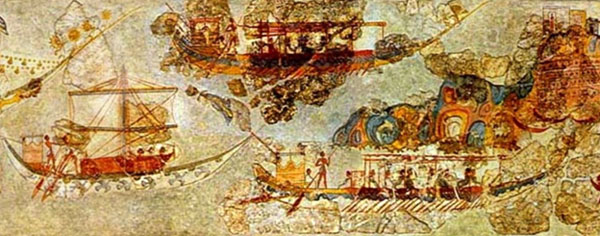 A segment of a large fresco of a ship procession from Bronze Age excavation at Akrotiri