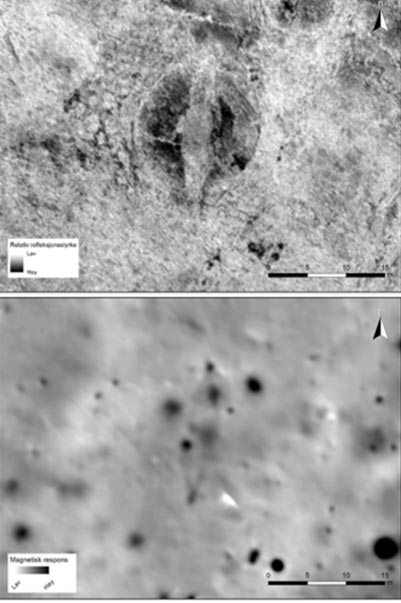 The ship grave is clearly visible in the georadar-illustration (top) and in the magnetometer-data (below). (NIKU)