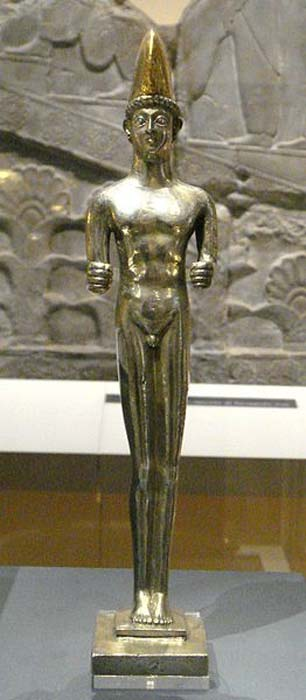 The silver statue of the young man