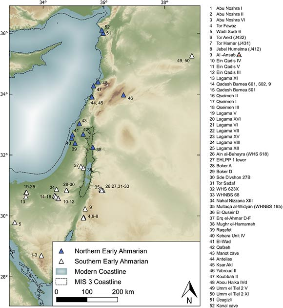 Archaeological sites attributed to the Early Ahmarian techno-cultural unit composed of the Northern Early Ahmarian (NEA) and Southern Early Ahmarian (SEA) groups. SEA sites include the Lagaman regional variant known in the Negev Desert and on the Sinai Peninsula. (Richter et al, 2020/PLOS ONE)