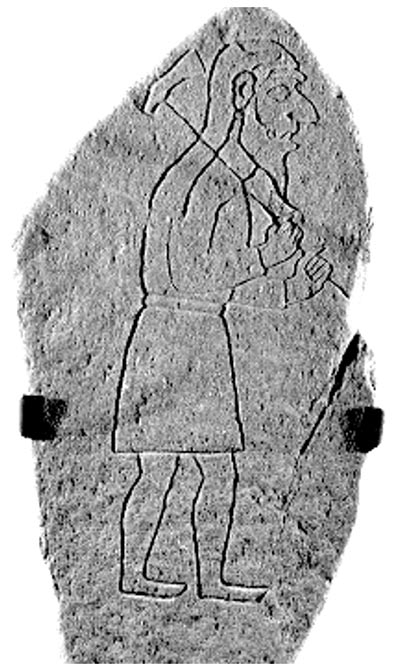 The six–foot boulder depicts the a man clad in a sleeved garment. He seems to be walking and carrying an axe. The art is believed to date back to about 700 AD.