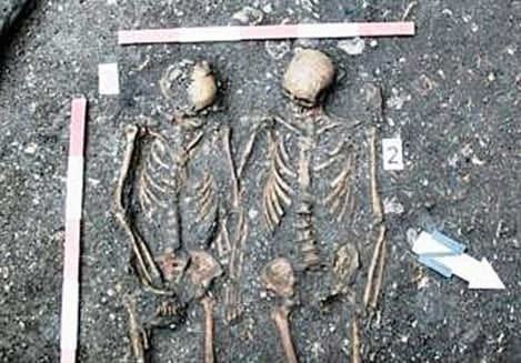 The skeletal remains of a young couple - Dominican monastery in Cluj-Napoca