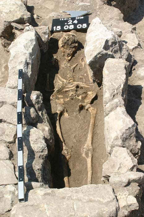 The skeleton of a woman who died 800 years ago on the outskirts of the ancient city of Troy in modern Turkey.