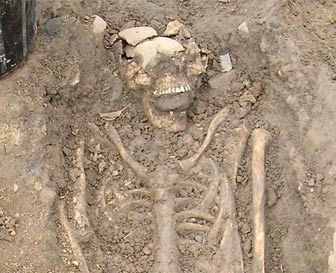 Skeleton found with a stone wedged in the mouth