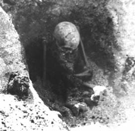 One of the skeletons found in the Sandvika sitting graves, Central Norway (Photo: NTNU Museum of Natural History and Archaeology, 1965-66)