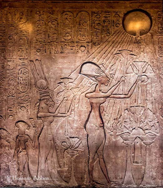 This painted slab from the Royal Tomb at El-Amarna shows Akhenaten, Queen Nefertiti and their daughters Meritaten and Meketaten adoring the Aten. Egyptian Museum, Cairo.