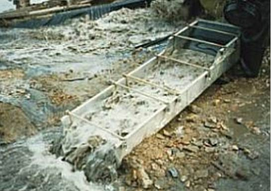 A sluice box used in placer mining