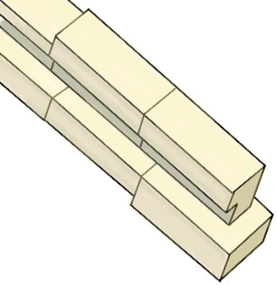 Fig 2. The construction of the small shafts in the Great Pyramid is very complex. A flat lower stone is surmounted by a stone containing a channel. But all these stones need tying into the rest of the pyramid, to stop them slipping.