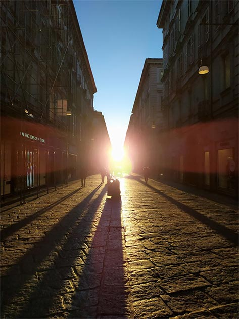 The solar alignment on this ancient Turin street occurs around February 4th and 5th, and is visible for a few minutes in the morning. The phenomenon is thought to be in honor of Emperor Octavian. (Guido Cossard)