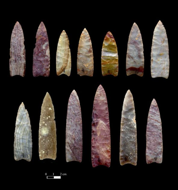 13,000-year-old spear points from Colorado. Chip Clark, Smithsonian Institution (Author Provided)
