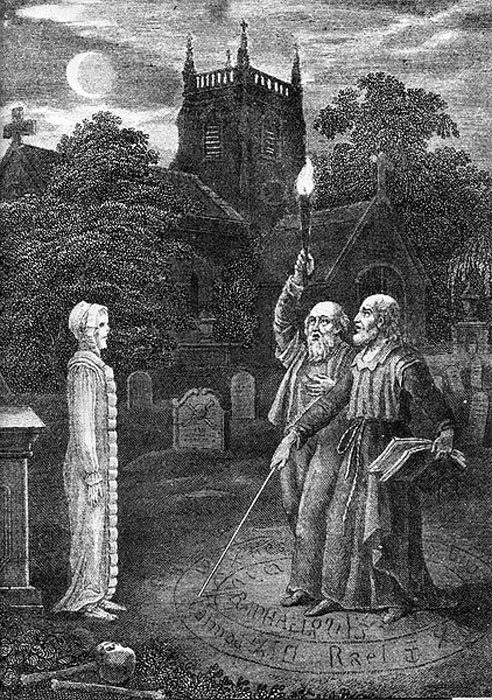 John Dee and Edward Kelly evoking a spirit.