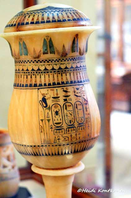 This splendid alabaster vase from KV62 has three cartouches bearing the names of Tutankhamun and his consort and half-sister, Ankhesenamun. Egyptian Museum, Cairo.
