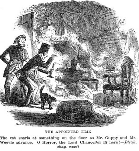Illustration of the spontaneous human combustion case in Bleak House by Charles Dickens