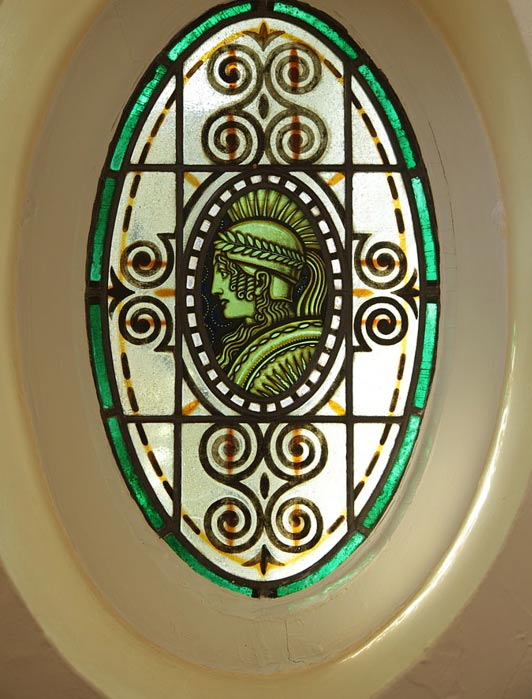 A stained-glass window in Schleswig, German; remains in a cemetery there were analyzed for the study. Only the rich could afford such windows.
