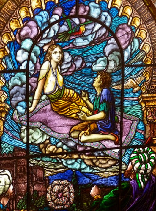 'Pilgrim of Love' stained glass window at Sunnyside Memorial Gardens, Long Beach, California