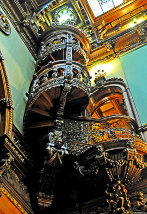 The famous spiral staircase of Peles castle