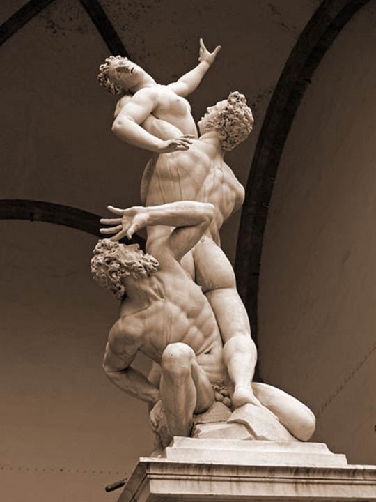 Famous statue in Florence depicting the abduction of the women of Sabine by Giambologna