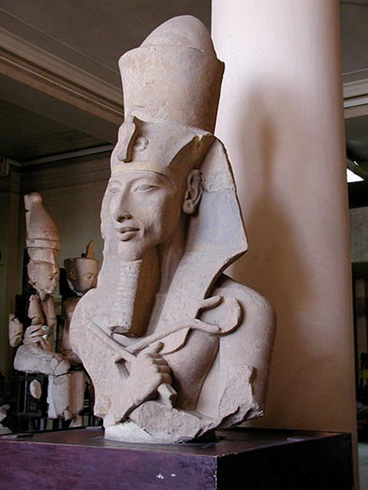 A colossal statue of Akhenaten from his Aten Temple at Karnak. Egyptian Museum of Cairo.