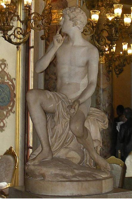 A statue of Harpocrates, god of silence, 1789, by Louis Philipe Mouchy