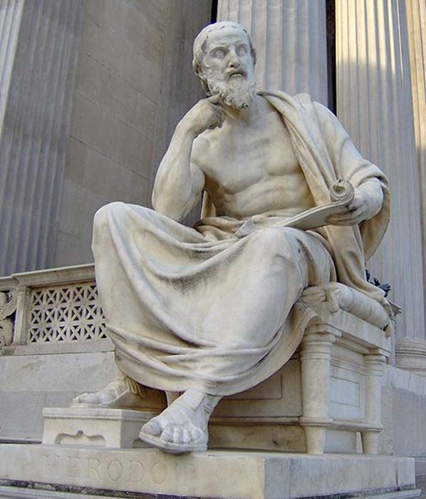A statue of Herodotus at the Austrian Parliament Building in Vienna, Austria.
