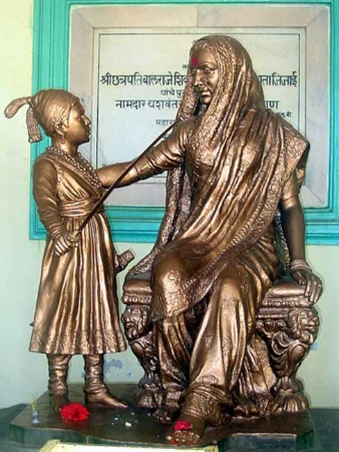 A statue of young Shivaji with Jijabai installed at the fort of Shivneri in 1960s.