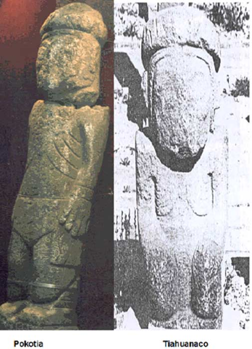 Pokotia statue, left and Tiahuanaco statue, right.